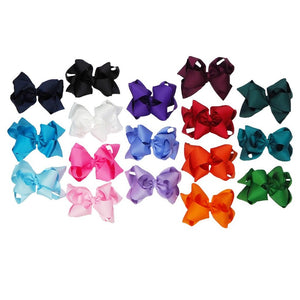 Solid 6 Inch Double Loop Stacked Hair Bows