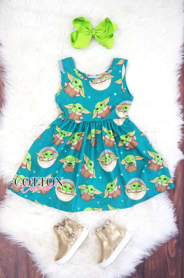 Baby Yoda Twirl Dress with Hidden Pockets