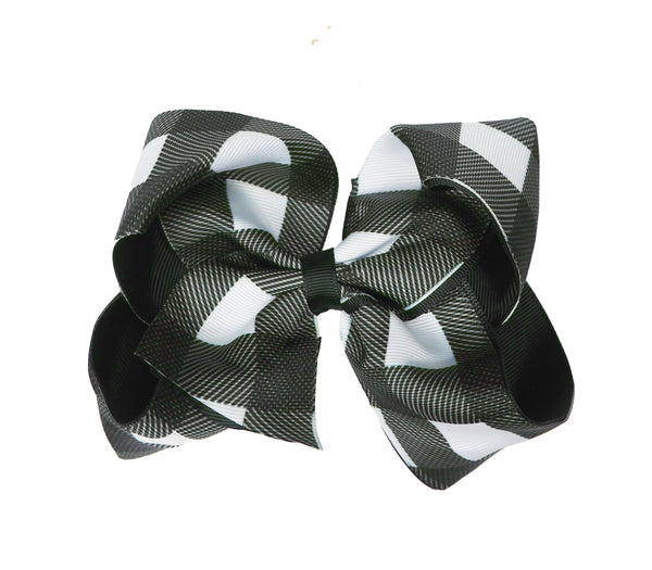 White and Black Plaid Hair Bow - Cotton Picked Cuties Boutique