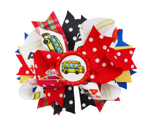 Wheels on the Bus School Double Stack Hair Bow - Cotton Picked Cuties Boutique
