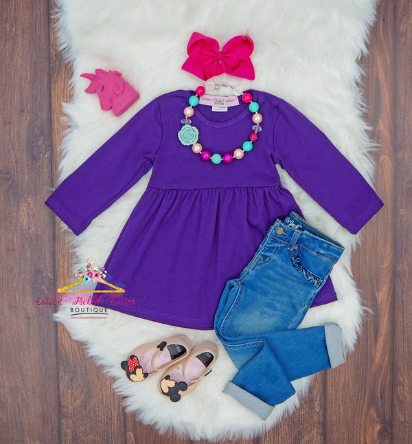 Purple Tunic Top - Cotton Picked Cuties Boutique