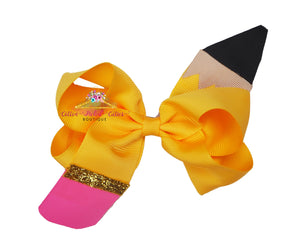 Yellow Pencil Hair Bow - Cotton Picked Cuties Boutique