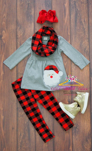 Buffalo Plaid Santa 3pc Scarf Set - Cotton Picked Cuties Boutique