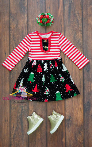 Snowy Christmas Tree Dress - Cotton Picked Cuties Boutique