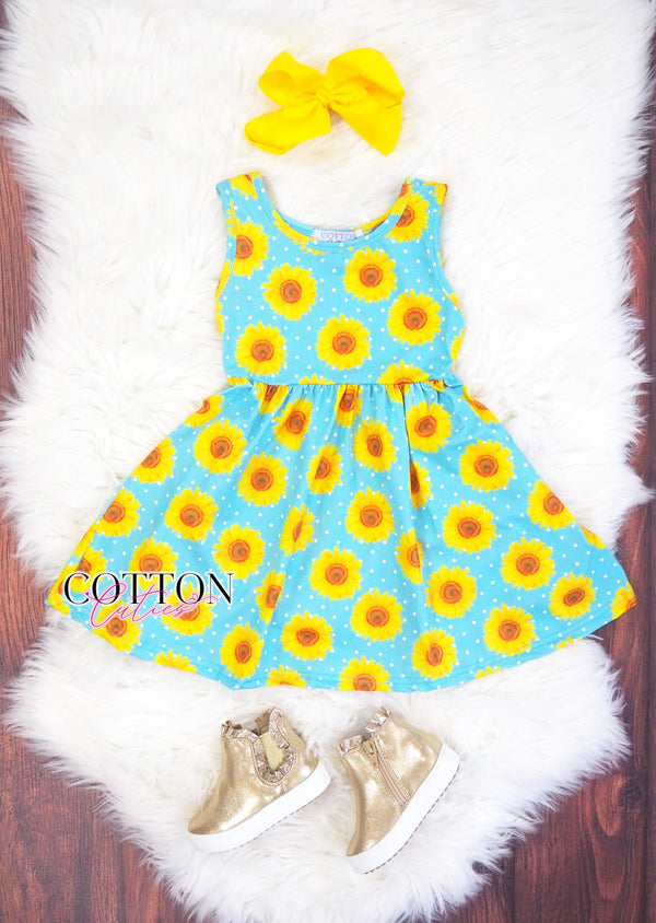 Sunflower Twirl Dress with Hidden Pockets