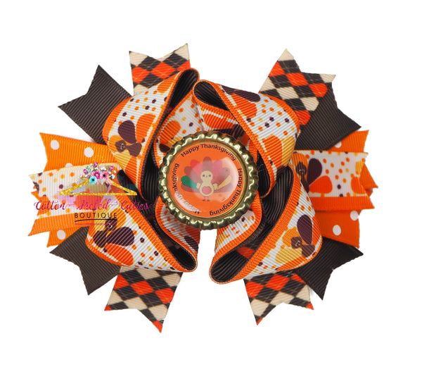 Thankgiving Hair Bow - Cotton Picked Cuties Boutique