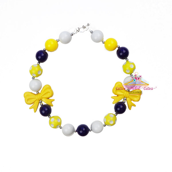 Yellow and Navy Necklace - Cotton Picked Cuties Boutique