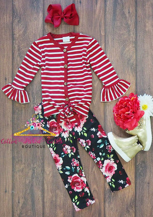 Burgandy Stripes and Floral Leggings Set - Cotton Picked Cuties Boutique