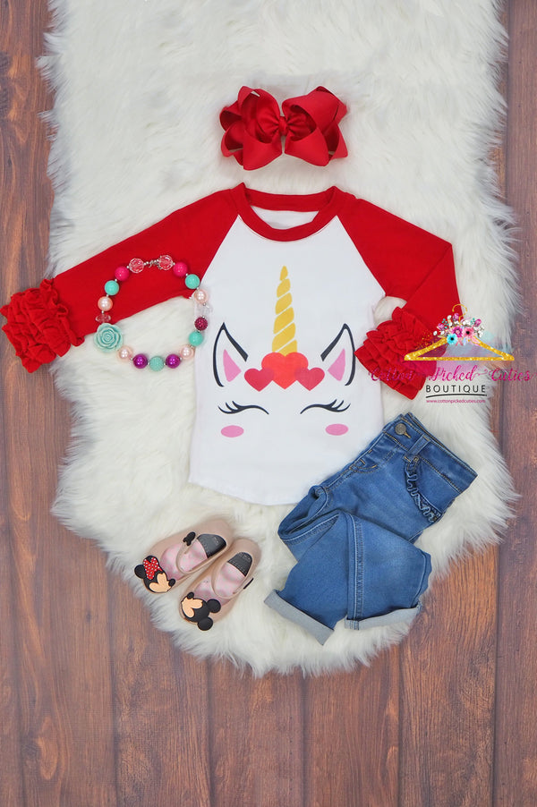 Hearts Crown Unicorn Icing Shirt - Cotton Picked Cuties Boutique