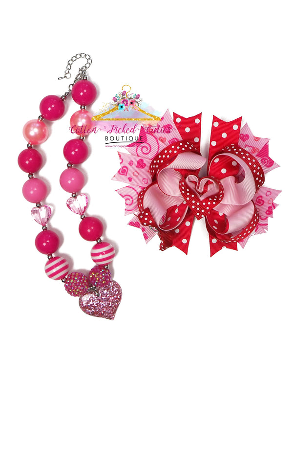 Pink Love Necklace and Hair Bow Set