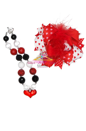 Red Love Necklace and Hair Bow Set - Cotton Picked Cuties Boutique