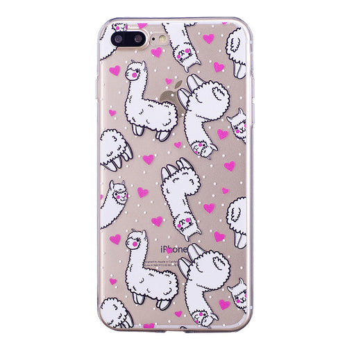 Llama Love Cartoon Design iPhone Case