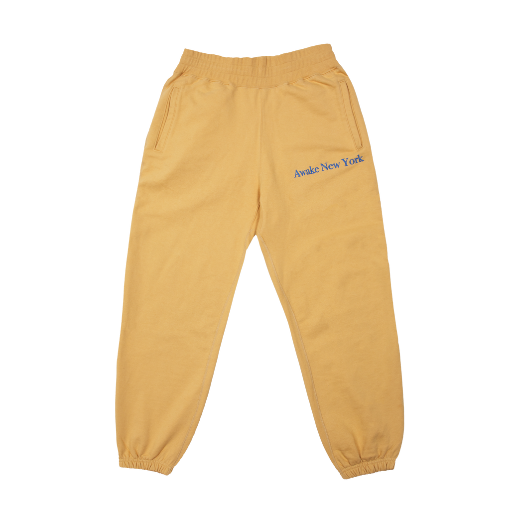 Classic Outline Logo Paneled Embroidered Sweatpants Mustard