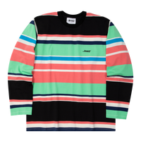 Embroidered Logo Longsleeve Striped Tee Black