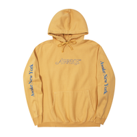 Classic Outline Logo Paneled Embroidered Hoodie Mustard