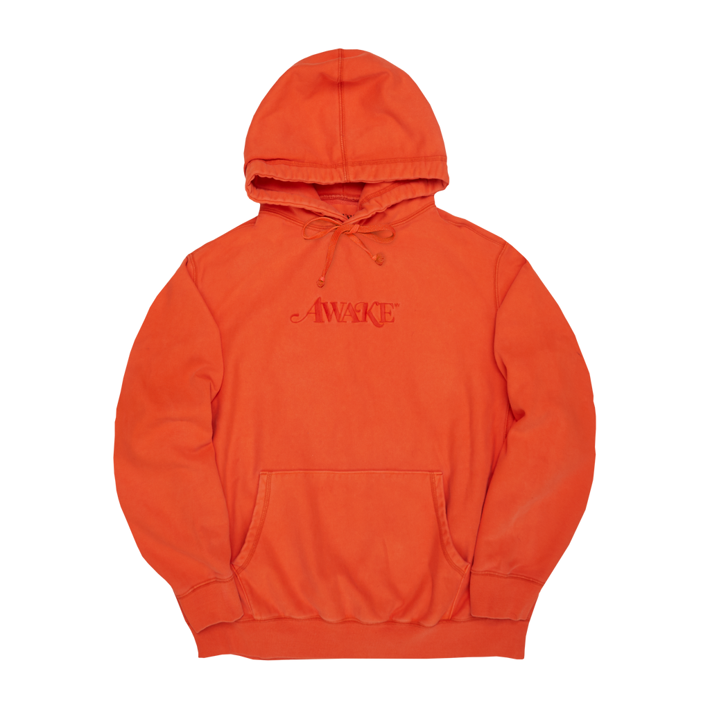 Classic Logo Embroidered Hoodie Red Orange
