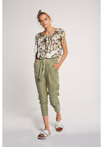 Chiappini Drawcord Blouse Botanical