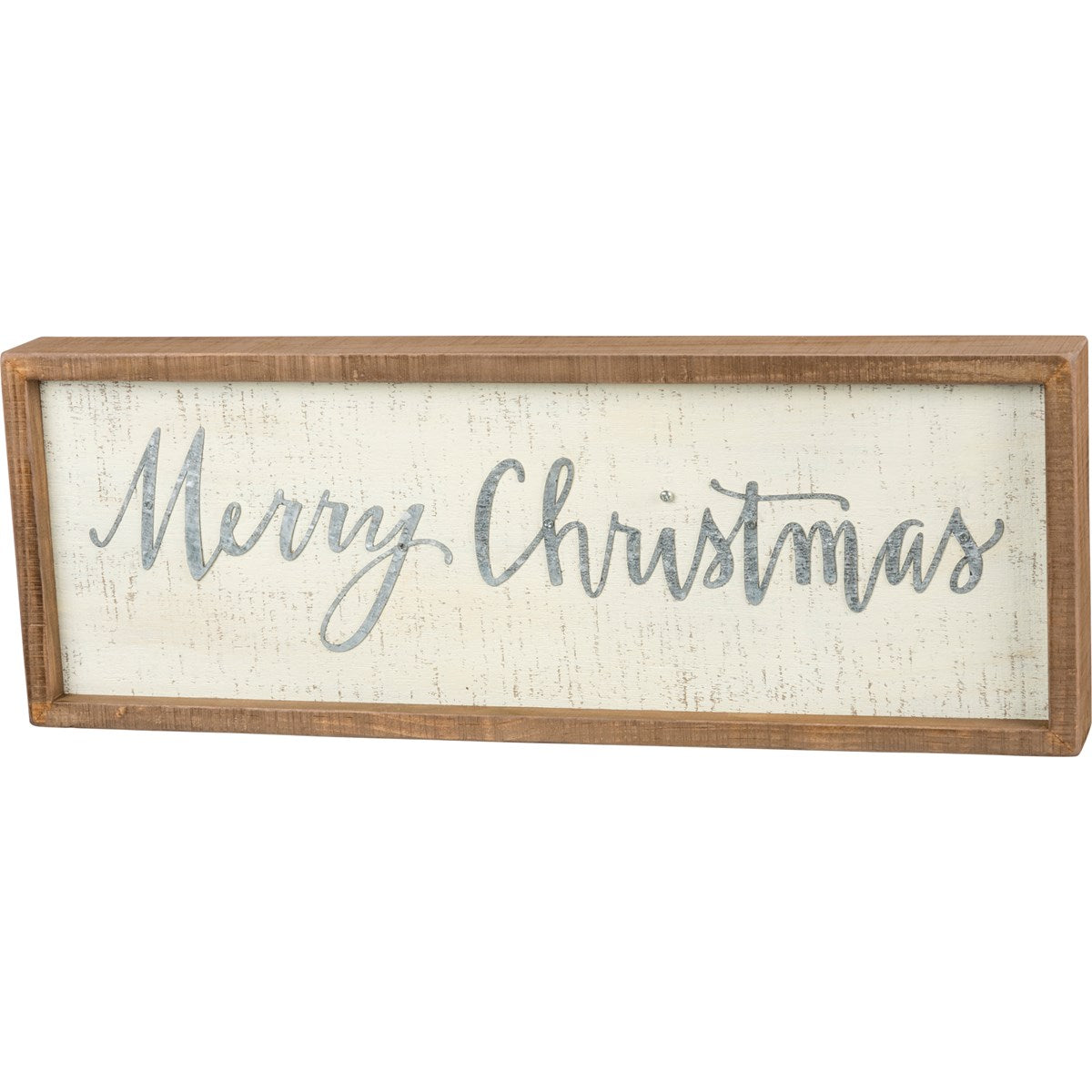 Merry Christmas Inset Box Sign - Vintage Crossroads