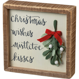 Christmas Wishes Mistletoe Kisses Box Sign - Vintage Crossroads