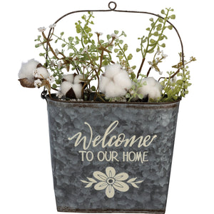 Welcome To Our Home Wall Bucket - Vintage Crossroads