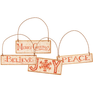 Christmas Words Ornaments - Vintage Crossroads