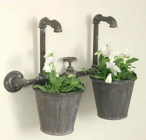Industrial Double Wall Planter - Vintage Crossroads