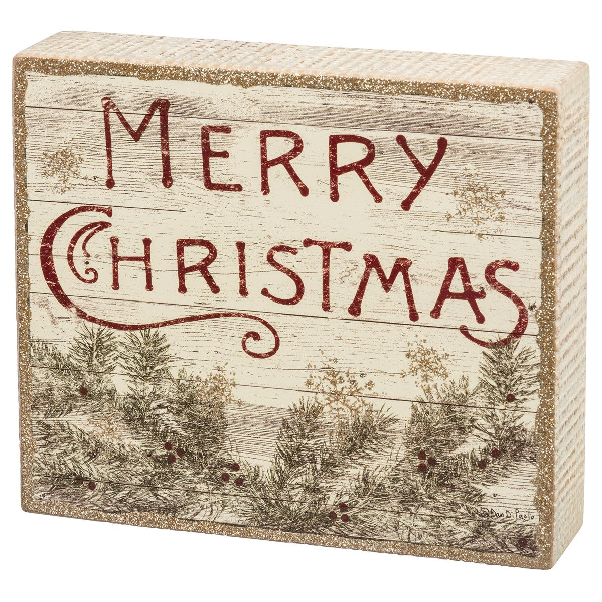 Rustic Merry Christmas Box Sign - Vintage Crossroads