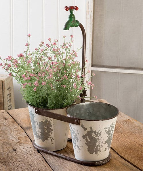 Double Bucket Faucet Planter - Vintage Crossroads