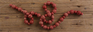 Red Striped Jute Ball Garland - Vintage Crossroads