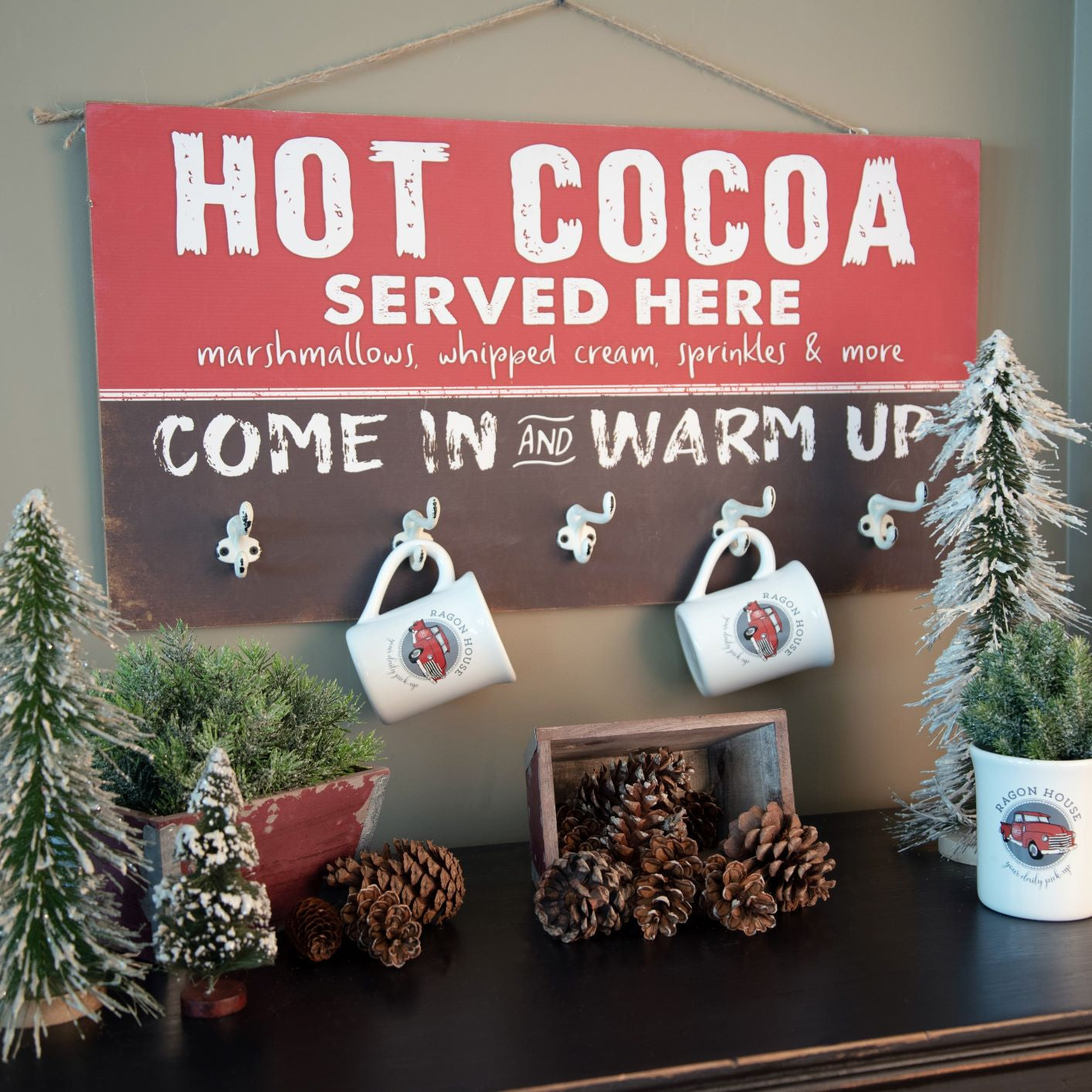 Hot Cocoa Sign With Hooks - Vintage Crossroads
