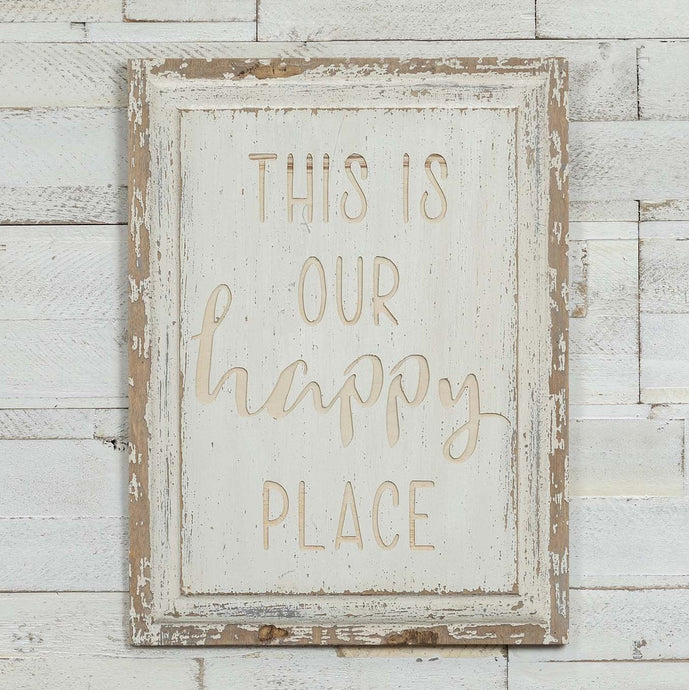 This Is Our Happy Place White Wood Sign - Vintage Crossroads