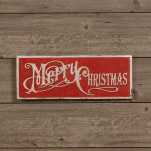 Red Merry Christmas Sign - Vintage Crossroads