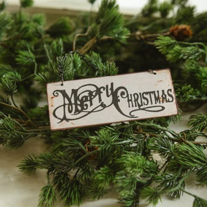 Tiny Merry Christmas Sign Ornament - Vintage Crossroads