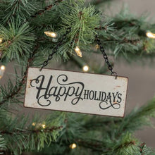 Load image into Gallery viewer, Tiny Happy Holidays Sign Ornament - Vintage Crossroads