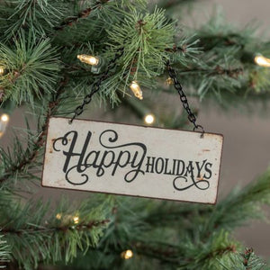 Tiny Happy Holidays Sign Ornament - Vintage Crossroads