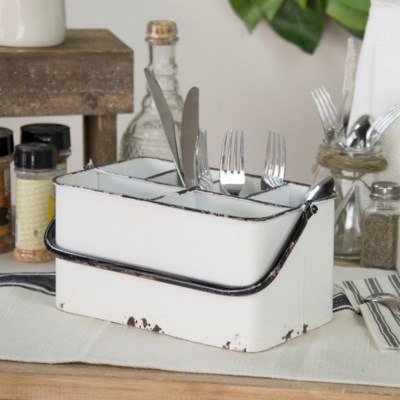Metal Utensil Caddy - Vintage Crossroads