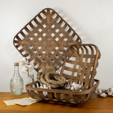 Load image into Gallery viewer, Square Tobacco Basket - Vintage Crossroads
