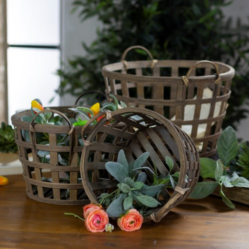 Round Wood Tobacco Basket - Vintage Crossroads