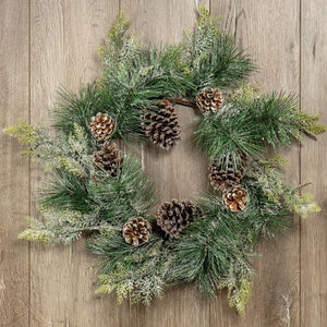 Frosty Pine And Cedar Wreath - Vintage Crossroads