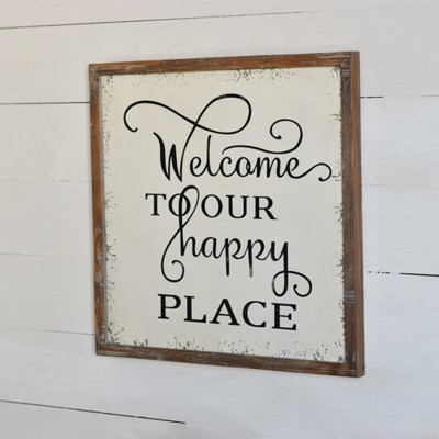 Welcome To Our Happy Place Sign - Vintage Crossroads