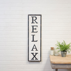 Metal Relax Sign - Vintage Crossroads