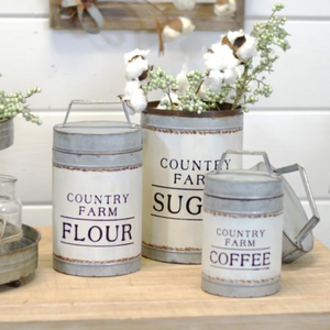Metal Country Canisters - Vintage Crossroads