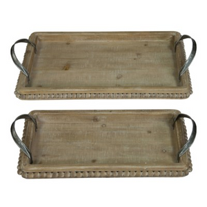 Wood Beaded Tray - Vintage Crossroads