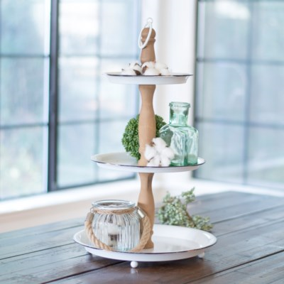 Metal & Wood 3 Tier Tray - Vintage Crossroads