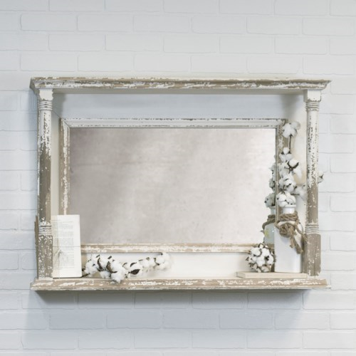 Wood Antique White Miirror - Vintage Crossroads