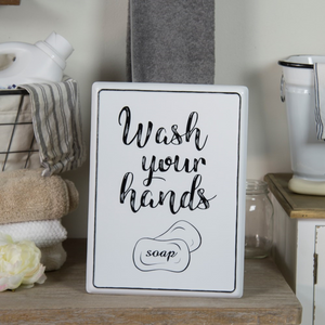 Metal  Wash Your Hands Sign - Vintage Crossroads