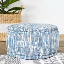 Load image into Gallery viewer, Blue Floor Cushion - Vintage Crossroads