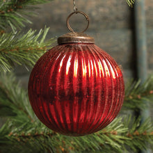 Load image into Gallery viewer, Ribbed Red Kugel Ornament - Vintage Crossroads