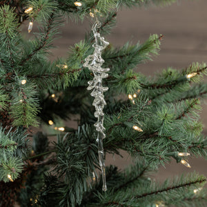 Clear Icicle Ornament With Silver Glitter - Vintage Crossroads