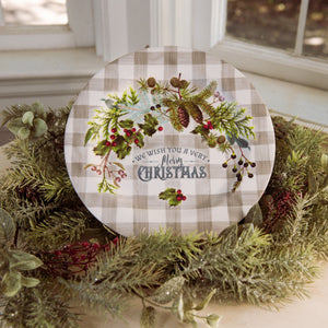 Merry Christmas Greenery Plate - Vintage Crossroads